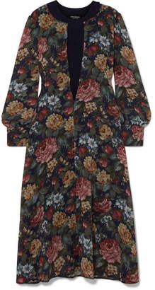 Junya Watanabe Layered Ribbed Wool And Floral-print Chiffon Midi Dress - Navy