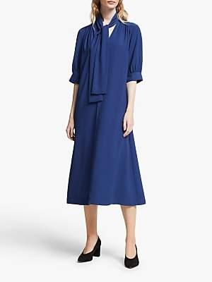 John Lewis & Partners Tie Neck Midi Dress
