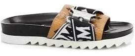 MCM Men's Buckled Logo Slides - Cognac - Size 46 (13) Sandals