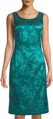 Oscar de la Renta Sleeveless Dress w/ Jewel Neckline