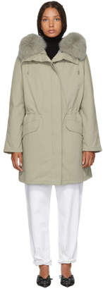 Yves Salomon Army Grey Classic Fur-Lined Parka