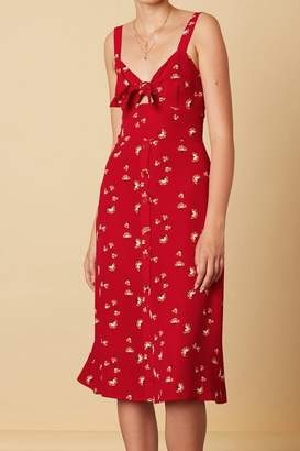 Cotton Candy Red Floral Midi