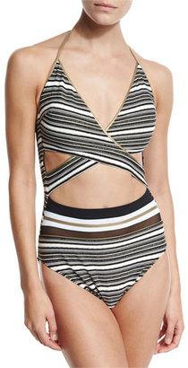 Gottex Regatta Metallic-Stripe Cutout Swimsuit, Black/White $168 thestylecure.com
