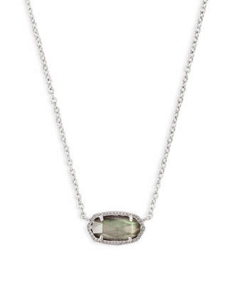 Kendra Scott Elisa Silver Pendant Necklace in Black Mother of Pearl