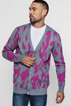 boohoo Leopard Intarsia Knitted Cardigan
