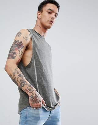 Asos Design DESIGN longline sleeveless t-shirt with raw neck and curved hem in linen mix in khaki