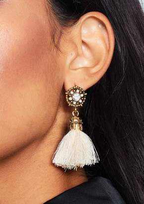 Missy Empire Missyempire Sara Cream Jewel Tassel Earrings