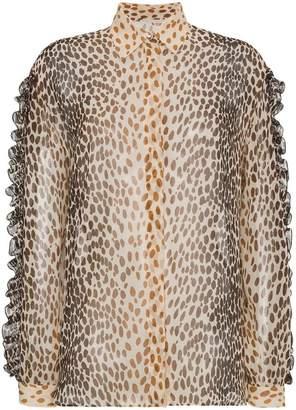 b183c9d9a3381 Marco De Vincenzo Silk animal print blouse with ruffles