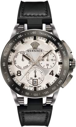 Versace Tech Chronograph Leather Strap Watch, 45mm