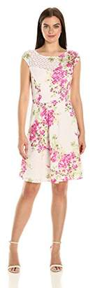 Sandra Darren Women's 1 Pc Extended Shoulder Printed Lace Fit & Flare Dress
