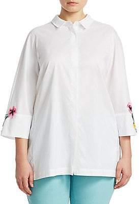 Marina Rinaldi Marina Rinaldi, Plus Size Women's Floral Sleeve Shirt