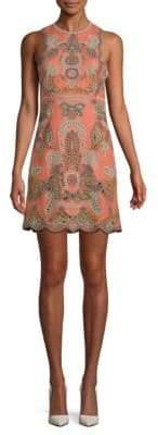 Valentino Embroidered Linen Shift Dress