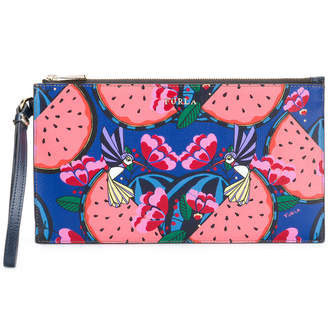 Furla fruit and birds printed clutch bag