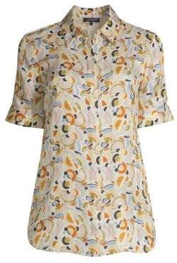 Lafayette 148 New York Women's Scottie Silk Geometric Short-Sleeve Blouse - Cloud Multi - Size XS