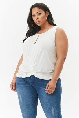 ef676d15357 at Forever 21 · Forever 21 Plus Size Slub Knit Keyhole Twist-Front Top