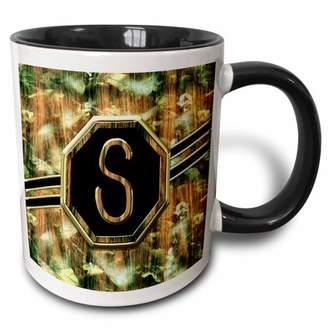 3dRose Elegant Camouflage Monogram Letter S Faux Gold Wood Grain Image - Two Tone Black Mug, 11-ounce