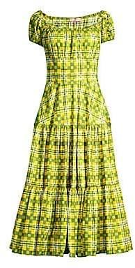 Michael Kors Women's Crushed Cap Sleeve Tiered Midi Dress - Size 0
