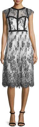 Parker Cap-Sleeve Mixed-Media Cocktail Dress, Black/White $308 thestylecure.com