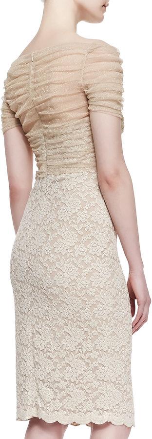 Badgley Mischka Short-Sleeve Tulle-Bodice Lace Cocktail Dress, Gold