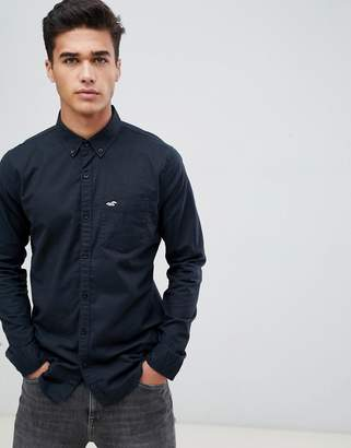 Hollister Muscle Fit Icon Logo Oxford Shirt in Black