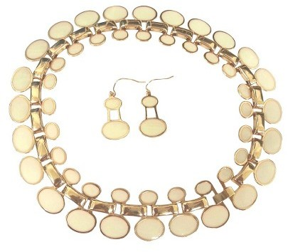 """Zirconite Enamel and Polished Oval """"Cleopatra"""" Statement Necklace and Earrings Set - White"""