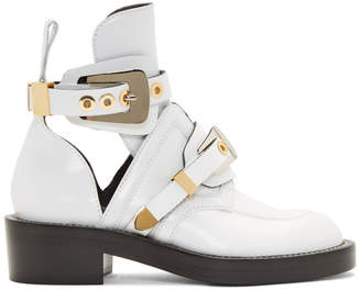Balenciaga White Leather Buckle Boots