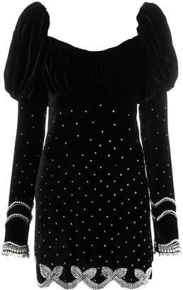 Wandering puff sleeve velvet dress