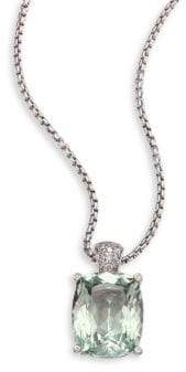 John Hardy Batu Classic Chain Diamond, Green Amethyst& Sterling Silver Pendant Necklace