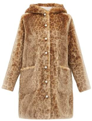 Shrimps Gloria Leopard Print Faux Fur Hooded Coat - Womens - Leopard