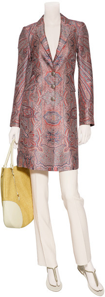 Etro Red Multicolor Paisley Print Silk Coat