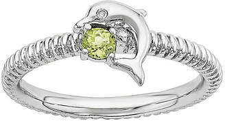 FINE JEWELRY Genuine Peridot and Diamond-Accent Sterling Silver Stackable Dolphin Ring