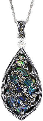 JCPenney FINE JEWELRY Marcasite and Abalone Shell Sterling Silver Teardrop Pendant Necklace