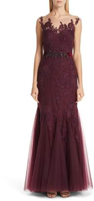 Badgley Mischka Belted Illusion Neck Lace Trumpet Gown