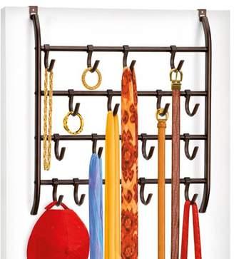 Lynk Over Door or Wall Mount Scarf Holder, Belt, Hat, Jewelry, Accessory Hanger, 16 Hook Organizer Rack, Bronze