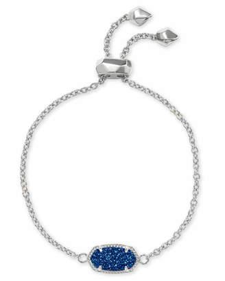 Kendra Scott Elaina Silver Adjustable Chain Bracelet in Blue Drusy
