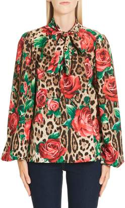 Dolce & Gabbana Rose & Leopard Print Tie Neck Stretch Silk Blouse