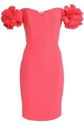 Badgley Mischka Floral-Appliquéd Crepe Mini Dress