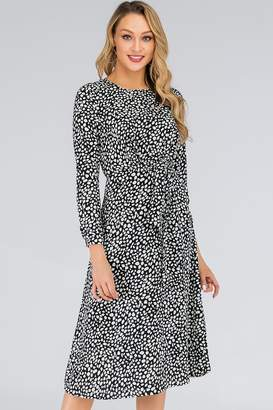 94b3cd56278b D. Anna Black & White Speckle-Printed Tie Waist Midi Dress