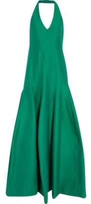 Halston Cotton And Silk-Blend Halterneck Gown