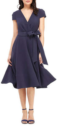 Gal Meets Glam Cap-Sleeve Crossover Tie-Waist Fit-&-Flare Dress
