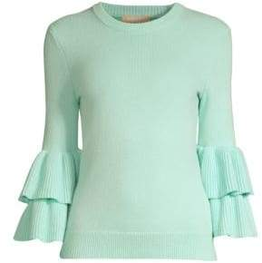 Michael Kors Double Ruffle Sleeve Cashmere Sweater