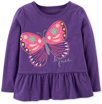 Carter's Toddler Girls Butterfly-Print Peplum T-Shirt