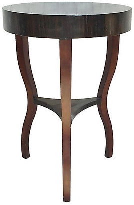 One Kings Lane Vintage Round Macassar Ebony Side Table - Vermilion Designs