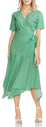 Vince Camuto Striped Handkerchief Wrap Dress
