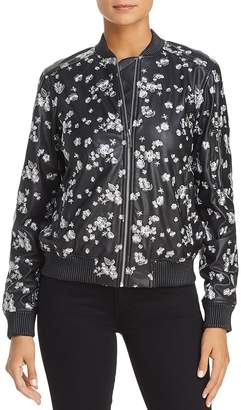 MICHAEL Michael Kors Metallic Embroidered Faux Leather Bomber Jacket