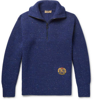 Burberry Logo-Embroidered Wool-Blend Half-Zip Sweater - Royal blue