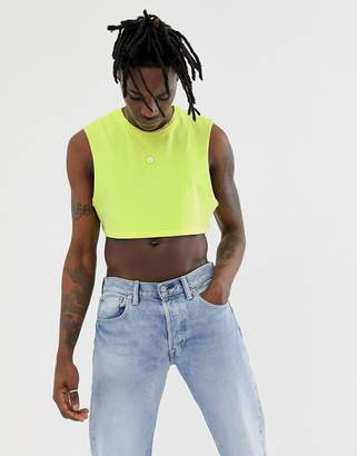 Asos DESIGN cropped sleeveless t-shirt in washed neon yellow