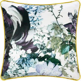 Roberto Cavalli Floris Silk Reversible Cushion - Blue - 60x60cm