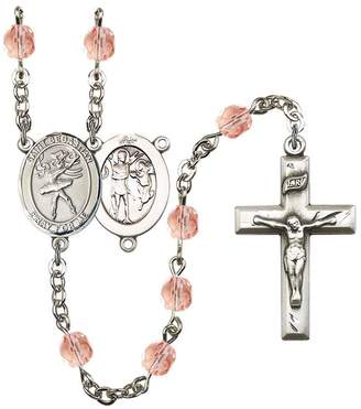 Sebastian Bonyak Jewelry Rosary Collection -Plated Rosary 6mm October Pink Fire Polished Beads, Crucifix Size 1 3/8 x 3/4. St. Dance medal charm