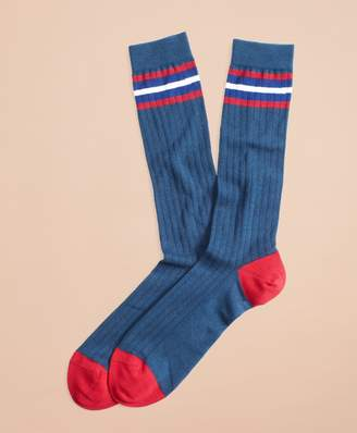 Brooks Brothers Striped Color-Block Ribbed Crew Socks